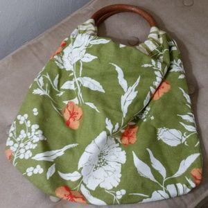 Old Navy reversible linen/cotton bag w/wood handle